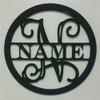 Circle Frame Family Name, Unfinished Framed Monogram WS