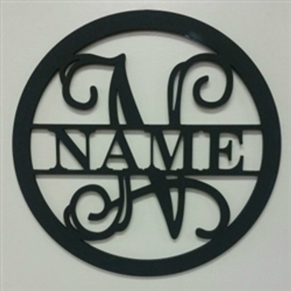 Circle Frame Family Name, Unfinished Framed Monogram WS