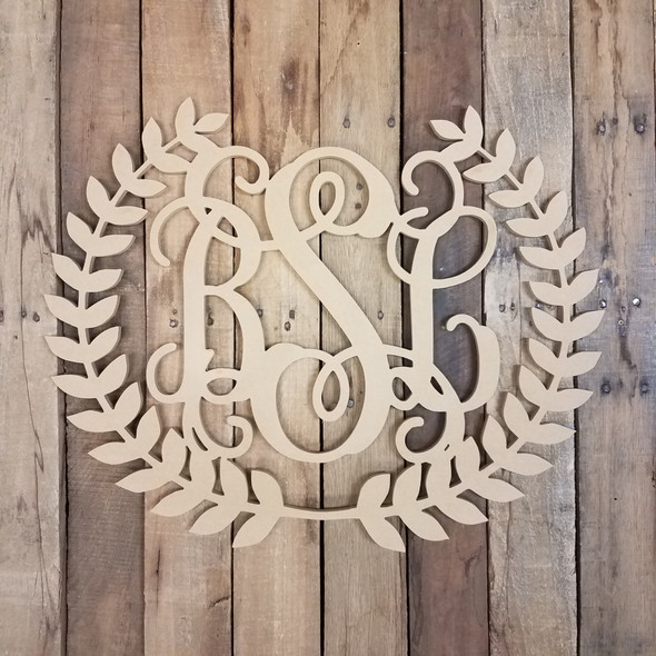 Roman Wreath 3 Letter Monogram WS