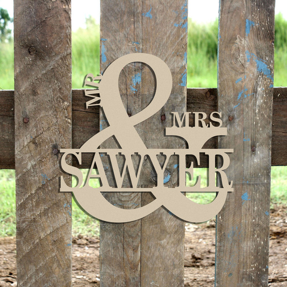 Mr & Mrs Name Frame Sign (2), Unfinished Framed Monogram WS
