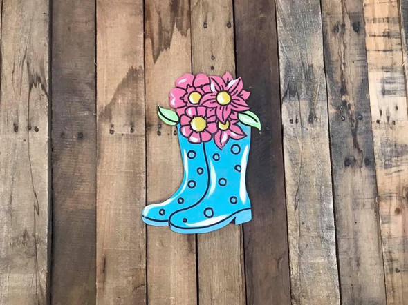 Paint by Line, Boots with Flowers, Unfinished Wood Shape