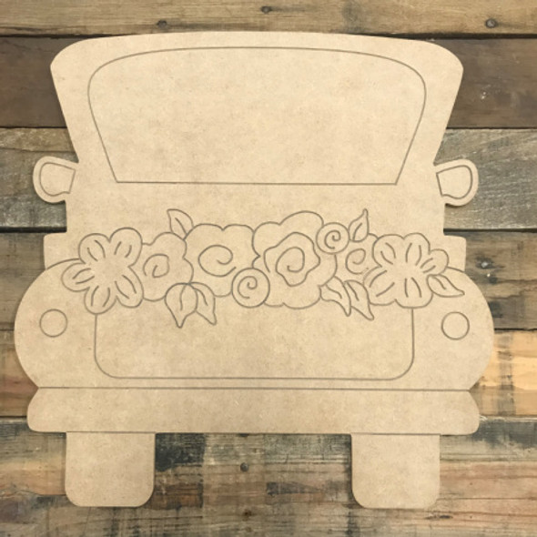 Paint by Line, Truck with Flowers, Unfinished Wooden Cutout Craft