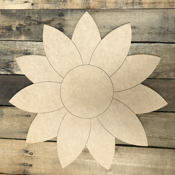 Paint by Line, Sunflower, Unfinished Wooden Cutout Craft