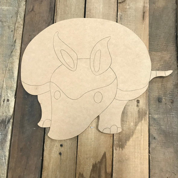 Armadillo, Unfinished Wooden Cutout Craft, Paint by Line