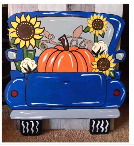 Fall Truck, Unfinished Wood Cutout, Paint by Line