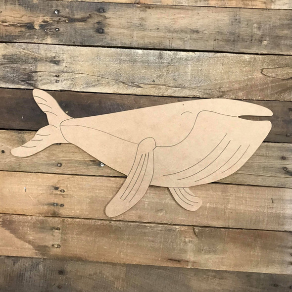 Whale 2 Cutout, Unfinished Craft, Paint by Line