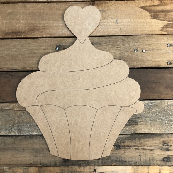 Heart Cupcake Cutout, Unfinished Shape, Paint by Line