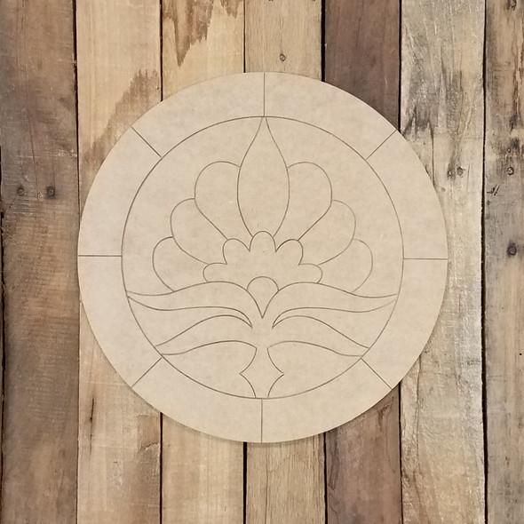 Lotus Flower Geometric Art Circle, Boho Style Unfinished Wood Shape, Paint By Line WS