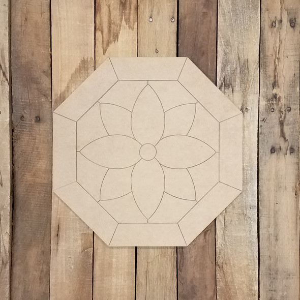 Flower in Octagon Geometric Art Circle, Boho Style Unfinished Wood Shape, Paint By Line WS