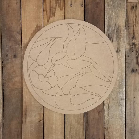 Hummingbird Geometric Art Circle, Unfinished Wood Shape, Paint By Line WS