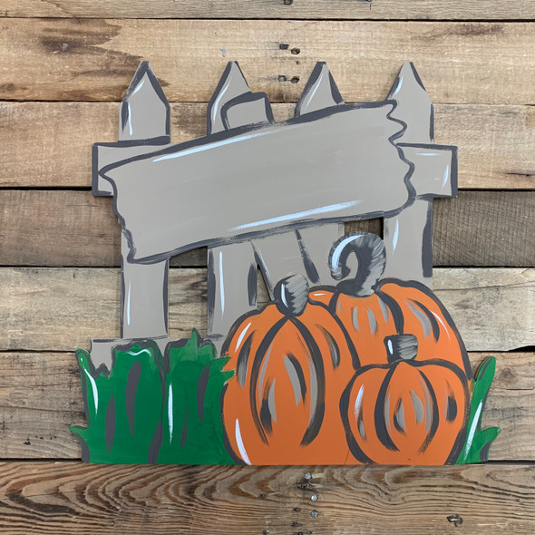 Pumpkins on Fence, Unfinished DIY Wood Cutout, Paint by Line WS