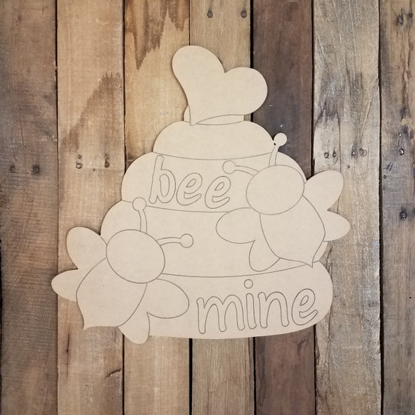Bee Mine Beehive Valentines Wood Cutout, Shape, Paint by Line WS