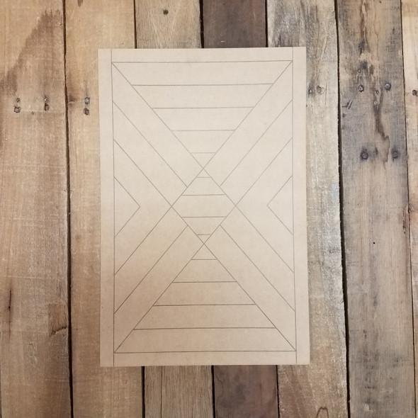 Wood Rectangle Geometric Pattern, Unfinished Wood Shape WS