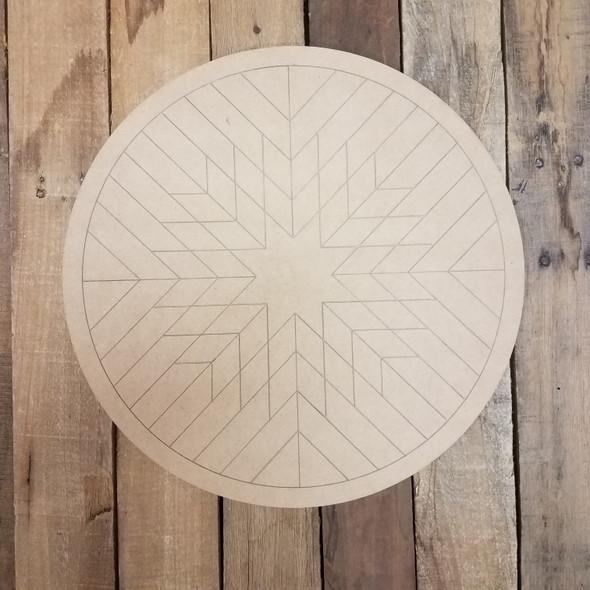 Wood Geometric Art Pattern Circle, Unfinished Wood Shape WS