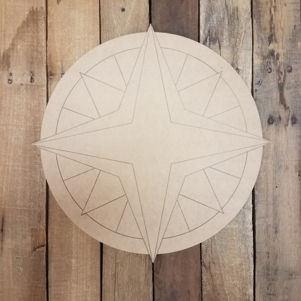 Compass Rose Geometric Art Pattern Circle, Unfinished Wood Shape WS