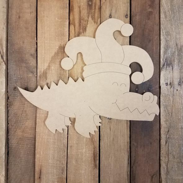 Mardi Gras Alligator, Wood Cutout, Shape, Paint by Line WS