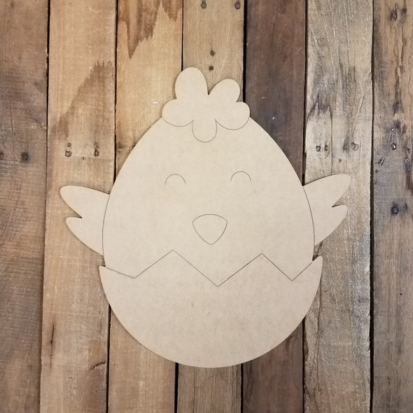 Hatching Easter Baby Chick Cutout, Unfinished Decor DIY Paint by Line WS