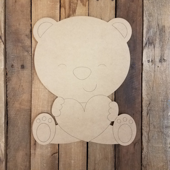 Sitting Bear with Heart, Paint By Line, Valentine Art Craft Shape WS