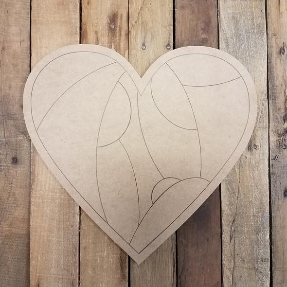 Geometric Pattern Heart Shape, Paint by Line WS