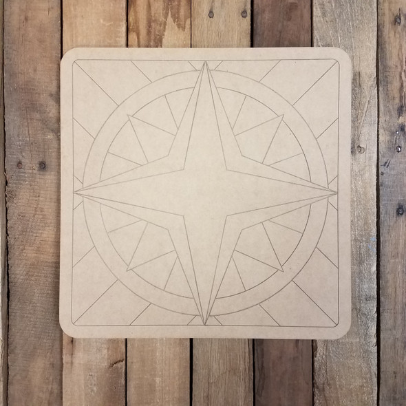 Compass Rose Geometric Art Pattern Square, Unfinished Wood Shape WS