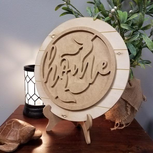 Home Floral Stackable Circle Easel Kit, Engraved DIY Craft Decor Set WS