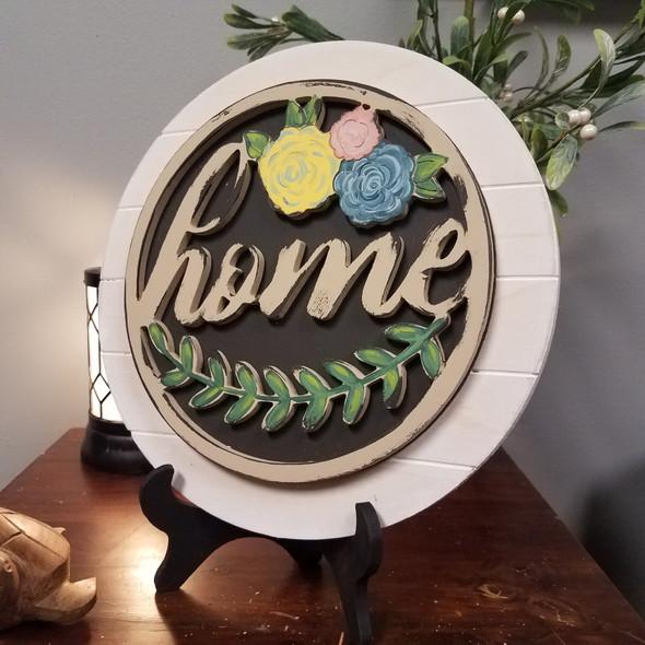 Home Laurel Stackable Circle Easel Kit, Engraved DIY Craft Decor Set WS