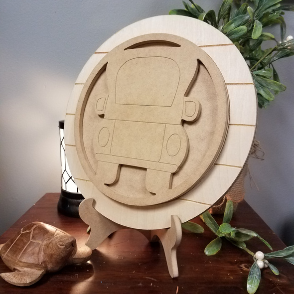 Interchangeable Side View Pickup Truck Seasonal Circle Easel Kit, Engraved DIY Craft Decor Set  WS