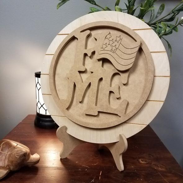 Interchangeable Home Seasonal Circle Easel Kit, Engraved DIY Craft Decor Set WS