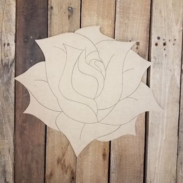 Rose in Bloom Flower Unfinished Craft Shape, Paint by Line