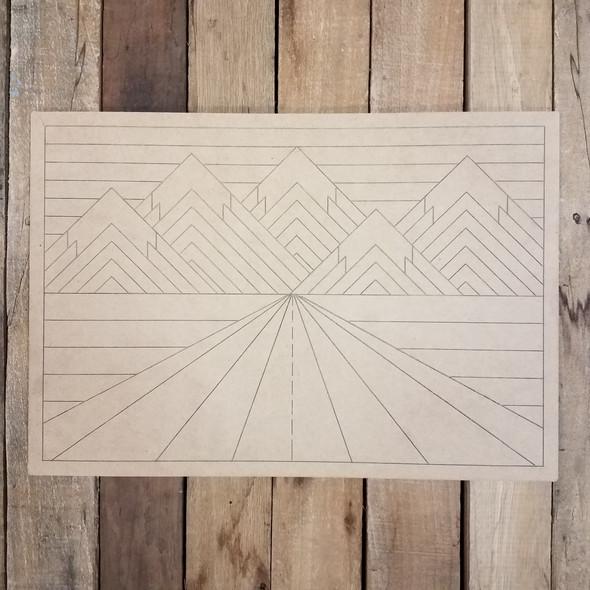 Mountain Road Boho Decor Rectangle, Wood Shape, Paint by Line WS