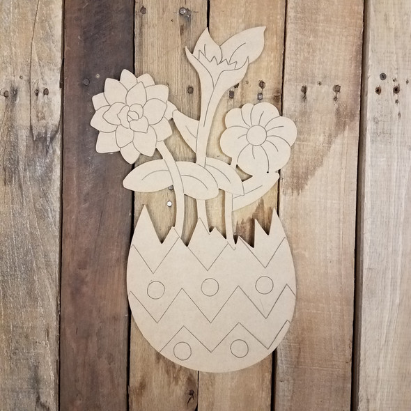 Spring Flowers in Easter Egg Wood Cutout, Shape, Paint by Line WS