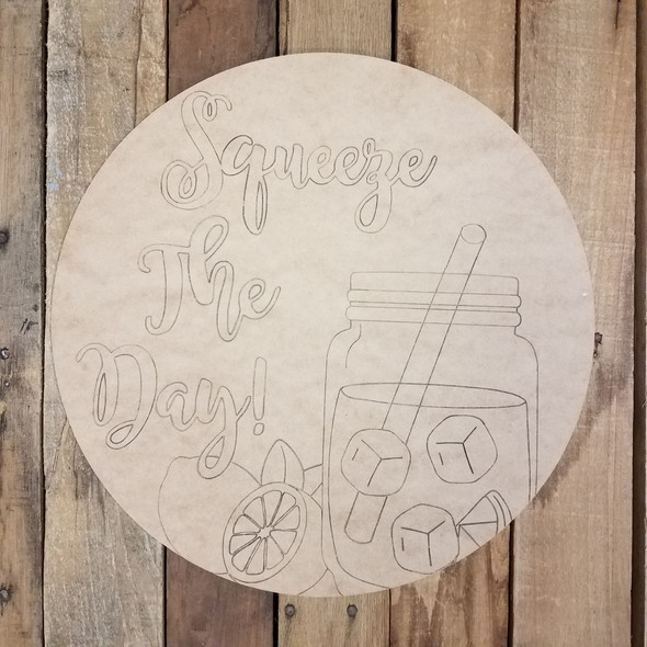 Squeeze the Day Lemonade Circle, Unfinished Shape, Paint by Line WS