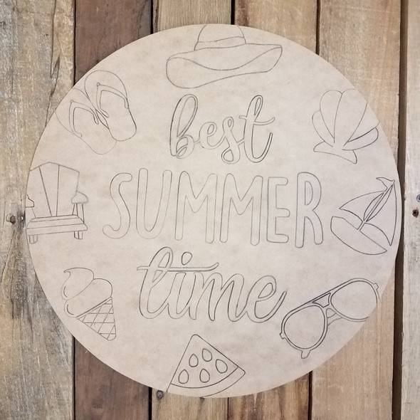 Best Summer Time Circle, Unfinished Shape, Paint by Line WS