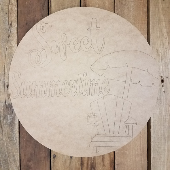 Sweet Summer Time Circle, Unfinished Shape, Paint by Line WS