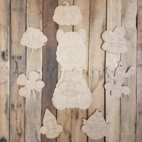 Cuddly Llama Seasonal Decor Set, Unfinished, Paint by Line WS