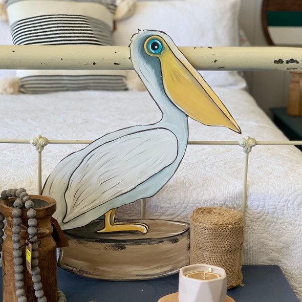 New Engraved Pelican Unfinished Cutout, Wooden Paint by Line Shape WS