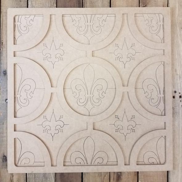 Fleur de Lis Tile 2 Piece Wall Decor Set, Unfinished Wooden Paint By Line WS