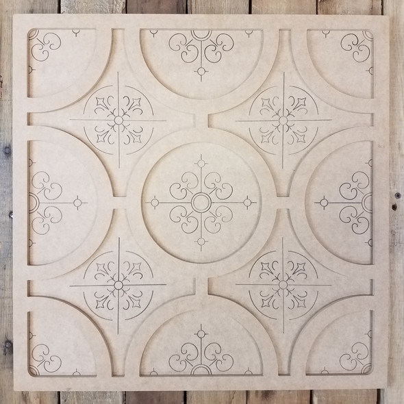 Circle Pattern Spanish Tile Decor Set, Unfinished Paint By Line WS