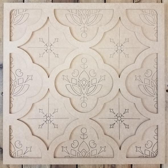 Floral Pattern Spanish Tile Décor Set, Unfinished Paint By Line WS