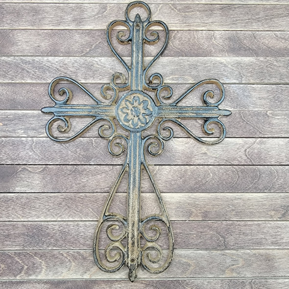 """CLEARANCE IN-STOCK 13.5"""" Cast Iron Decorative Curly Design Metal Cross WS"""
