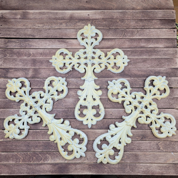 """CLEARANCE IN-STOCK 14"""" Cast Iron white Decorative Floral Leaf Metal Cross WS"""