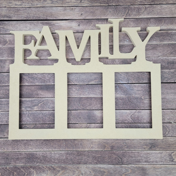 """CLEARANCE IN-STOCK 15"""" Family Picture Frame 4 x 6 WITHOUT GLASS, Unfinished Wood Frame, Wall Decor WS"""