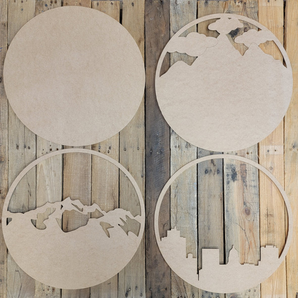 """18"""" Cityscape Layered Wall Décor 4 Piece Set, Unfinished Art WS"""