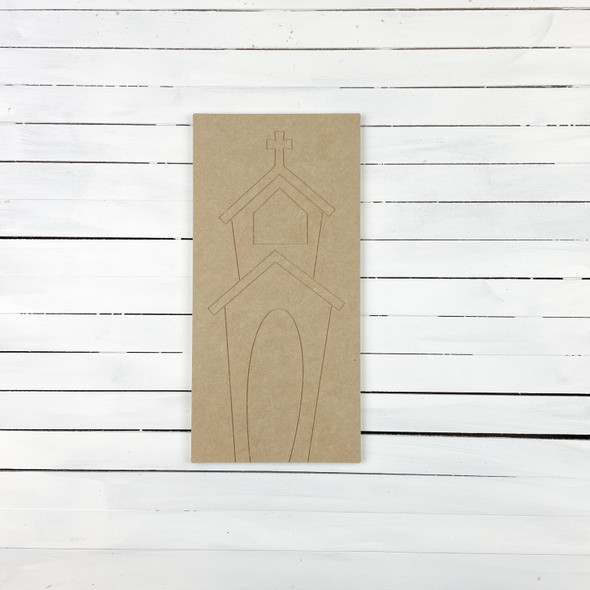 Square Board Church House With Steeple, Unfinished Craft, Paint by Line WS