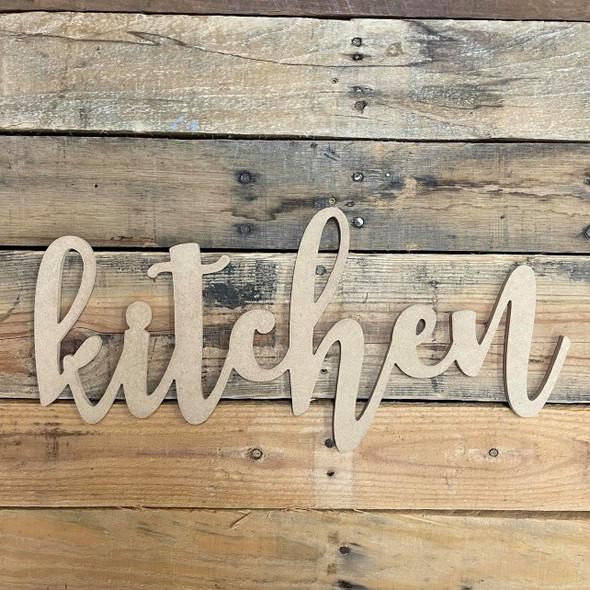 Kitchen, Wooden Word Lowercase Script Unfinished MDF WS