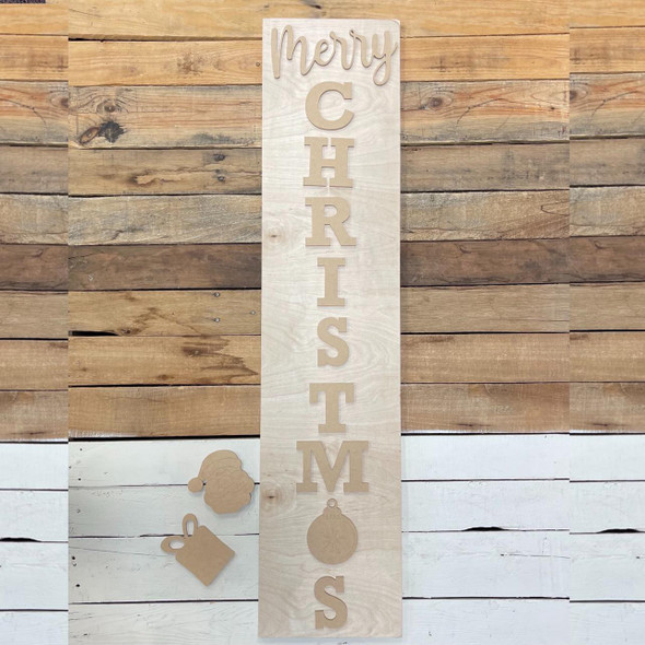 Merry Christmas Welcome Board, Unfinished Porch Leaner Kit WS