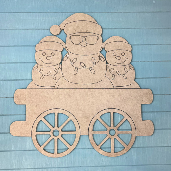 Train Cart - Snowman Cargo, Unfinished MDF Craft Shape