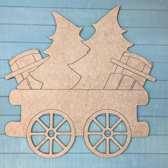 Train Cart - Trees & Sleighs Cargo, Unfinished MDF Craft Shape