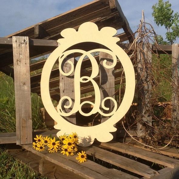 Charlie Oval Frame Monogram Letter Wooden - Unfinished  WS