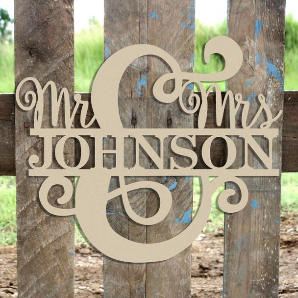 Mr & Mrs Name Frame Sign, Unfinished Framed Monogram WS